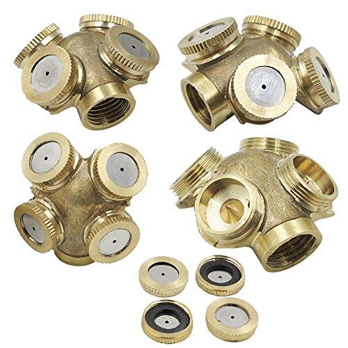 3 Piece KUWAN 1/4″ Brass Misting Spray Nozzle 4 Holes Garden
