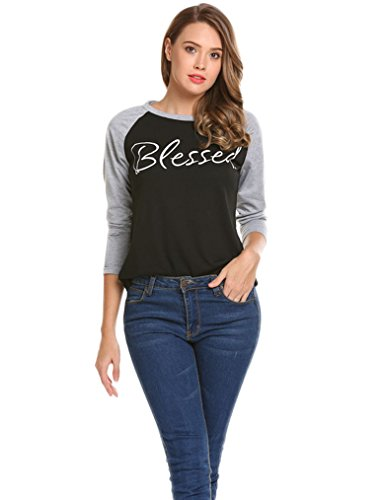 fd01f6c76e2 Women s casual crew neck long sleeve baseball raglan jersey t-shirts  Material  PolyesterPackage Content  1 x Women T-Shirt Note  As different  computers ...